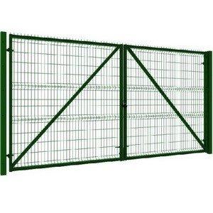 Ворота распашные 3Д 2030х4000мм RAL 6005