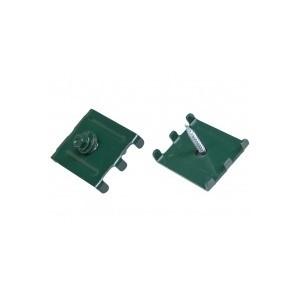 Крепёж скоба с саморезом для 3Д забора 40х30мм зеленая 6005