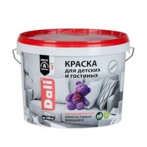 Краска DALI водно-дисперсионные для детских и гостиных 9л белая 96%