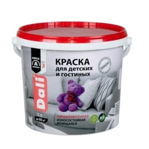 Краска DALI водно-дисперсионные для детских и гостиных 5л белая 96%