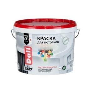 Краска DALI водно-дисперсионные для потолка 9л белая 96%