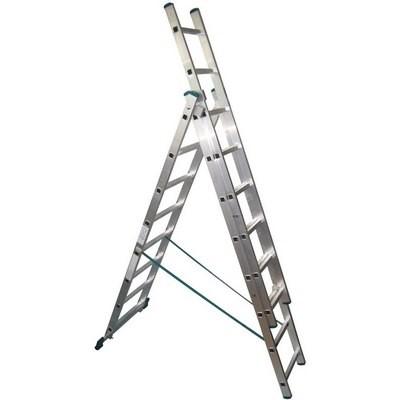 Стремянка-лестница универсальная трехсекционная алюминиевая
