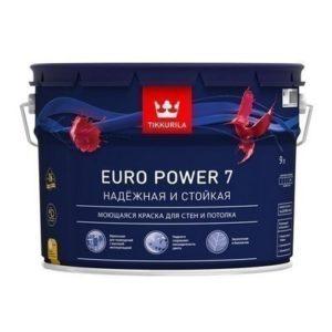Тиккурила EURO POWER-7 9л  (БАЗА С) Краска моющаяся для стен и потолков